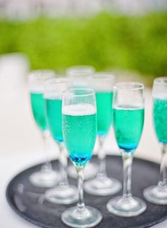 Champagne to match your color scheme during cocktail hour | Photo Courtesy Jordan Brian Photography