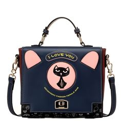 33.50$  Buy here - http://aign5.worlditems.win/all/product.php?id=32710231265 - Bailar totes shoudler messenger bag women handbags fashion retro cute cartoon cat printing high capacity high quality PU leather