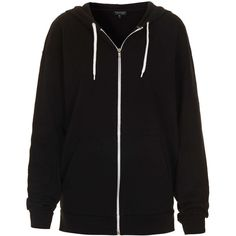 TOPSHOP Oversize Hoody ($35) ❤ liked on Polyvore featuring jackets, outerwear, hoodies, tops, sweaters, black and topshop