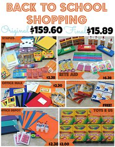 We broke down 6 stores (#OfficeDepot, #Staples, #RiteAid, #ToysRUs, #OfficeMax, and #Target) to show you how to get the best deals this week!  Spend less than $16 for over $150 in Back to School supplies! http://fabulesslyfrugal.com/?p=221198 #BackToSchool #B2S