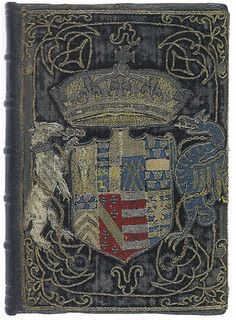 1544. Another fine example of the decorative use of Heraldry occurs on a copy of Petrarch printed at Venice in 1544, and probably bound about 1548, after the death of Henry VIII. It belonged to Queen Catherine Parr, and bears her arms with several quarterings—worked appliqué on rich blue purple velvet, and measures 7 by 6 inches.