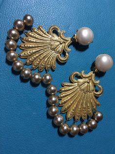 1960's Runway Brass & Pearl clip on earrings  Epsteam