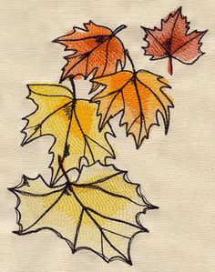 Painted Leaves design (UT5328) from UrbanThreads.com