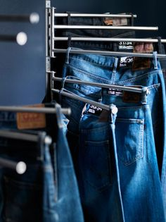 Gruntal (or any) full-swivel towel bars, screwed in multiples one-a-top the other, turn into the PERFECT pants/skirts hangers. Especially with the help of a few larger bulldog clips. ;)