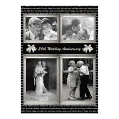 25 Years Silver Wedding Anniversary Party Photo Invitations
