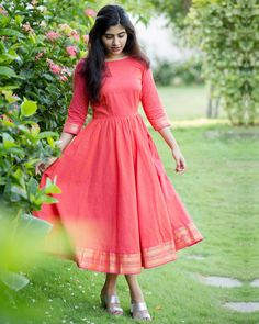 3 Brands To Shop Colorful Ethnic Dresses This Summer - Designer Dresses Couture Long Gown Dress, Frock Dress, The Dress, Long Frock, Cotton Dress Indian, Dress Indian Style, Indian Long Dress, Frock Design, Frock Fashion