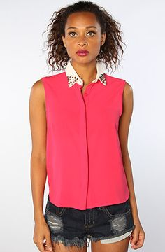 studz. The Clueless Spike Collar Top in As If Hot Pink. $29.99 on PLNDR
