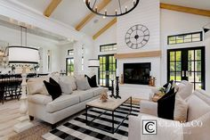Black and white modern farmhouse living room look at the vintage inspired ceiling . black and white modern farmhouse living room Farmhouse Living Room Furniture, Farmhouse Interior, Home Living Room, Living Room Designs, Modern Farmhouse, Living Room Decor, Farmhouse Style, Interior Modern, Farmhouse Kitchens