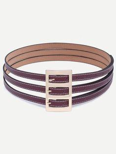 Cinturón de cuero faux tres hebilla -tinto-Spanish SheIn(Sheinside)