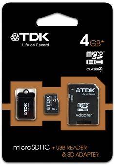 Tarjeta De Memoria Micro SD 4 GB TDK Clase 4 Mas Adaptador SD Mas Lector USB - http://complementoideal.com/producto/tarjeta-de-memoria-micro-sd-4gb-tdk-clase-4-adaptador-sd-lector-usb-modelo-8566/  - Tarjeta Micro SD de 4Gb Clase 4  para poder usarlo con tu SmartPhone, Tablet o cualquier dispositivo que admita tarjetas Micro SD. Lleva tus archivos, música, vídeos a cualquier lado de forma fácil. Además viene con un Adaptador de SD, que te servirá para poder usar la Tarje