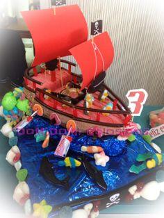 DoMiDoMi Golosinas: Tarta de chuches barco pirata
