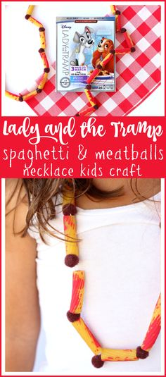 Lady and the Tramp Kids Craft | Easy Spaghetti & Meatballs Necklace, perfect for family movie night - Raising Whasians via @raisingwhasians