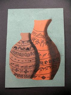 "Another 4th grade art project by Katie - ""Native American Symbolism on Pottery with Shading"""