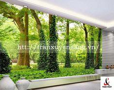 vách xuyên sáng phòng khách in hình ảnh thiên nhiên