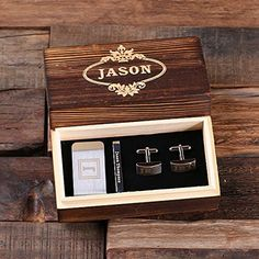 Personalized Cufflinks Set - Classic gentleman's gift set complete with rectangular cuff links, money clip, tie clip, and wood gift box. Groomsmen Gifts Unique, Groomsman Gifts, Unique Gifts, Best Gifts, Best Man Gift Ideas, Gift Ideas For Groomsmen, Groomsmen Boxes, Wedding Gifts For Groomsmen, Wooden Gift Boxes
