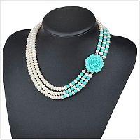 Ожерелье из крупного речного жемчуга и бирюзы