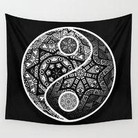 Wall Tapestries featuring Yin Yang Zentangle by Wealie