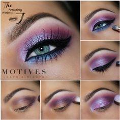 Illuminate, purple eye shadow, blue eyeliner, purple, lip gloss, red lipstick, dark red, motives