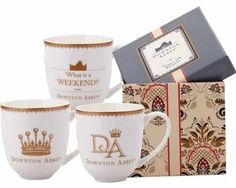 A beautiful World Market's Downton Abbey tea cup set. What Is Weekend, Downton Abbey Series, Bachelorette Pad, Cool Kitchen Gadgets, How To Make Coffee, Tea Cup Set, Mom Birthday Gift, Personalized Mugs, Mugs Set