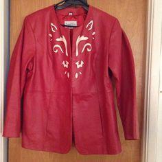 Retro Pamela Mccoy Collections Red 100% Leather Blazer Jacket Coat 2X   XXL