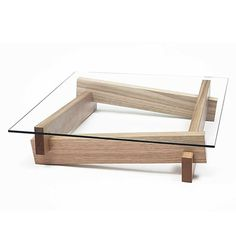 Coffee table, interesting to try to build it yourself. Simple though playful and cool wood and glass coffee table. #diy #coffeetable #woodandglass