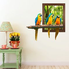 Out of Frame Parrots Wall Decal