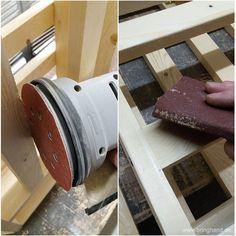 Holzlatten Glatt schmirgeln.  #Palettenmöbel #Europalette #Möbel #DIY #selbstmachen #Kühlschrank #Flaschenregal
