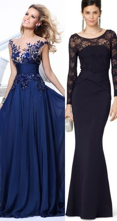 Omg the dress in the left is gorgeous. Love the blue dress