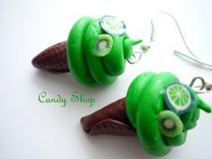 Kiwi lime ice-cream earring