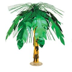 """Palm Tree Cascade Centerpiece - Palm Tree Cascade Centerpiece Palm Tree Cascade Centerpiece is made of green foil and stands 18"""""""" high. $3.99/each"""