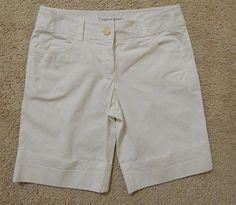 Trina Turk Women's White Flat Front Bermuda, Walking Shorts with Cuffs Size 6 – Style Shanty #TrinaTurk #Shorts