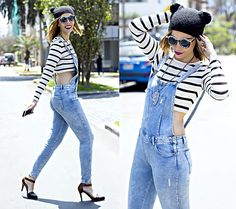 Romwe Sunnies, Zara Denim Overalls, Camote Soup Beanie, Jazmin Chebar Necklace
