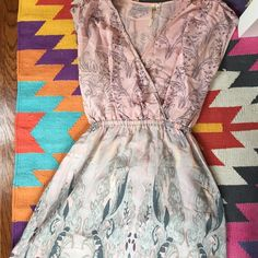 Petticoat Alley Silk Paisley faux Wrap Dress Gorgeous and comfy dress in pale pinks and greys with elastic waistband Petticoat Alley Dresses
