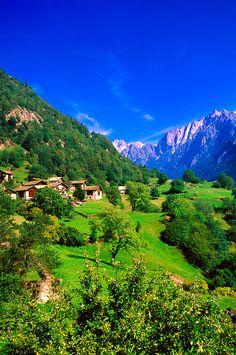 Alpine scene, Soglio, Graubünden, Switzerland