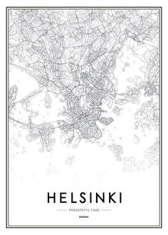 Helsinki map, poster in the group Posters & Prints at Desenio AB Helsinki, Black And White Posters, Black And White Pictures, Poster 70x100, Lisbon Map, Cities In Finland, Wall Prints, Poster Prints, Gold Poster