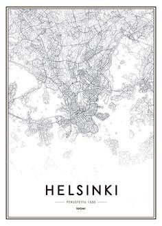 Juliste, jossa Helsinki-kartta | Mustavalkoiset taulut kaupunki- ja kartta-aiheilla