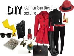 """DIY: Carmen San Diego costume"" by theekissoflife on Polyvore"