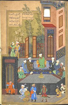Iskandar, in the likeness of Husayn Bayqara, with the seven sages. An inscription in the arch of the window is dated AH 900 (1494/95). (BL Or.6810, f. 214r).