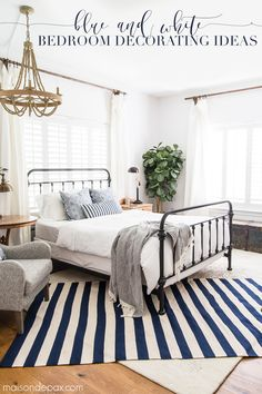 simple coastal master bedroom: get tips for casual blue and white bedroom decor! - simple coastal master bedroom: get tips for casual blue and white bedroom decor! Coastal Master Bedroom, White Bedroom Decor, Coastal Bedrooms, Trendy Bedroom, Cozy Bedroom, Home Decor Bedroom, Bedroom Furniture, Summer Bedroom, Layered Rugs Bedroom