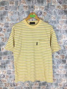 Vintage GIANNI VALENTINO Italy Stripes Shirt Medium 90's  Designer Valentino Yellow Striped Border Skaters Grunge Streetwear Tees Size M by CaptClothingVintage on Etsy