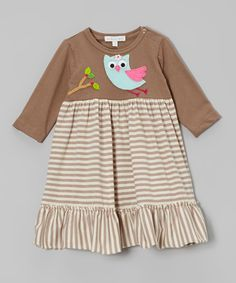 Take a look at this Brown Stripe Flying Owl Ruffle Dress - Infant, Toddler & Girls on zulily today!