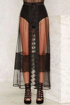Unveiled Sheer Lace Wrap Skirt - Romantic Revolution | Back In Stock | Party Clothes | All Party | Maxi