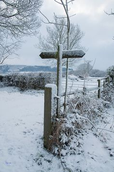 Finger post seen along the walk from Grosmont to Whitby on North Yorkshire Moors. It had snowed heavily ovver night, as still was. Yorkshire Dales, North Yorkshire, Yorkshire England, Winter Scenery, Winter Colors, British Countryside, Winter Magic, England And Scotland, Snow Scenes