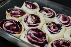 Blueberry Cinnamon Rolls Everyone loves cinnamon rolls for breakfast. These guys have a blueberry and cinnamon filling!  YIELD: MAKES 24 ing...
