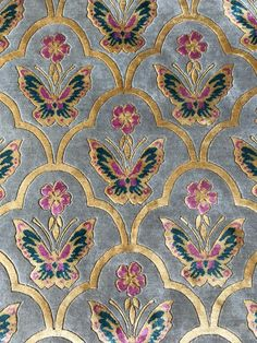 Renaissance Hand-knotted wool and silk rug with butterflies and periwinkles in hues of gold, pink, and teal; designed by Wendy Morrison; Textile Prints, Textile Design, Textiles, Pattern Art, Pattern Design, Fabric Patterns, Print Patterns, Periwinkle Flowers, Indian Folk Art