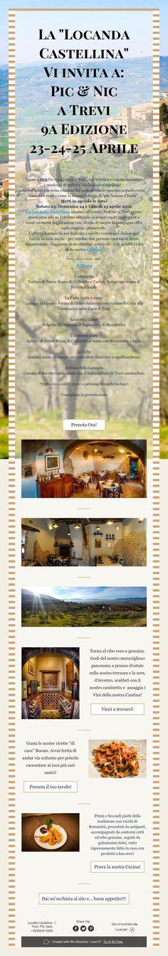 """La """"Locanda Castellina""""  Vi invita a: Pic & Nic  a Trevi  9aEdizione  23-24-25 Aprile"""