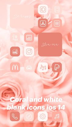 Coral and white blank icons ios 14