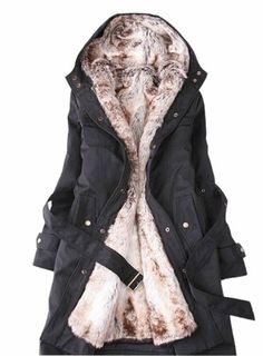 CHAREX Winter Warm Fur Jacket Wrap Trench Coat Hooded Womens
