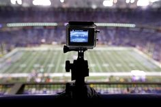 A GoPro camera, with Ambarella video chips, is set up to film the Redskins-Vikings football game this month.