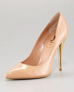 X19Q5 Yves Saint Laurent Patent Leather Pointed Toe Pump